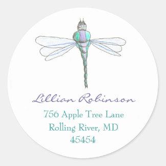 Dragonfly address label round stickers