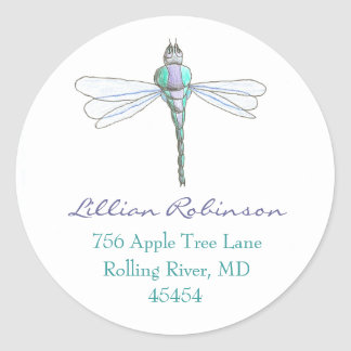 Dragonfly address label round stickers