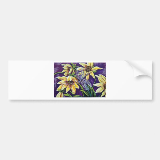 dragonfly and black eyed susans bumper stickers