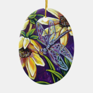 dragonfly and black eyed susans ceramic oval decoration