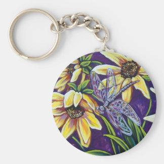 dragonfly and black eyed susans keychain