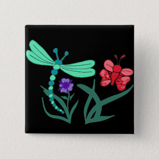 Dragonfly and Butterfly 15 Cm Square Badge