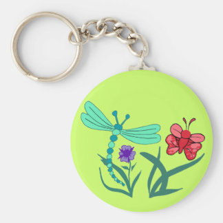 Dragonfly and Butterfly Basic Round Button Key Ring