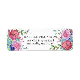 Dragonfly and Floral Return Address Labels