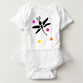 dragonfly and flowers baby bodysuit