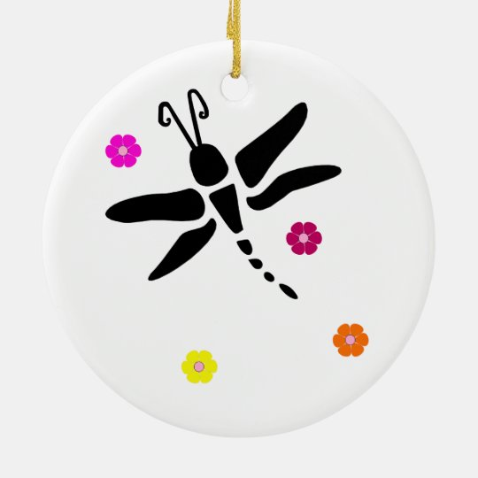 dragonfly and flowers christmas ornament