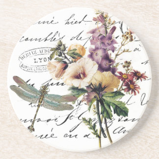 Dragonfly and flowers coaster