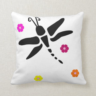 dragonfly and flowers cushion