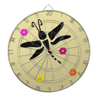 dragonfly and flowers dartboard