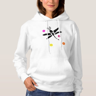 dragonfly and flowers hoodie