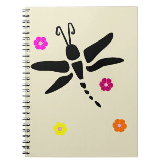 dragonfly and flowers notebook