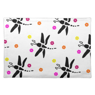 dragonfly and flowers placemat