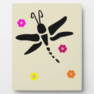 dragonfly and flowers plaque