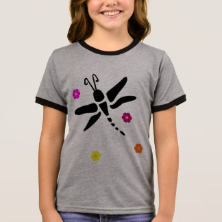 dragonfly and flowers ringer T-Shirt