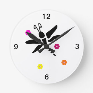 dragonfly and flowers round clock