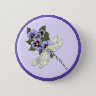 Dragonfly and Pansies 6 Cm Round Badge