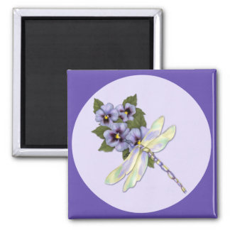 Dragonfly and Pansies Magnet