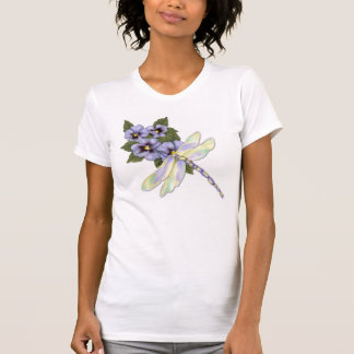 Dragonfly and Pansies T-Shirt