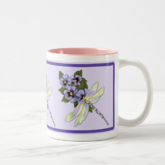 Dragonfly and Pansies Two-Tone Coffee Mug