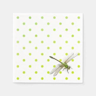 Dragonfly and polka dots disposable napkins