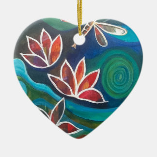 Dragonfly and water lily contemporary vibrant desi ceramic heart decoration