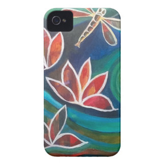 Dragonfly and water lily contemporary vibrant desi iPhone 4 cover