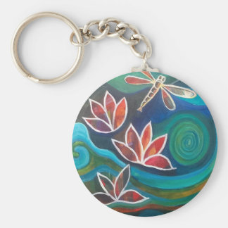 Dragonfly and water lily contemporary vibrant desi key ring