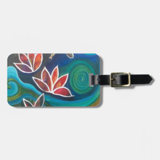 Dragonfly and water lily contemporary vibrant desi luggage tag
