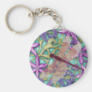 dragonfly basic round button key ring