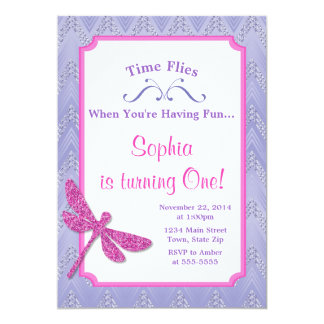 Dragonfly Birthday Invitation Pink Glitter Girl