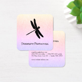 Dragonfly (black) chic square business card