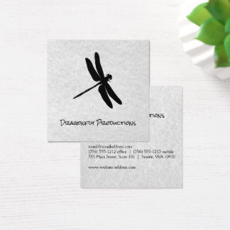 Dragonfly (black) gray texture square business card