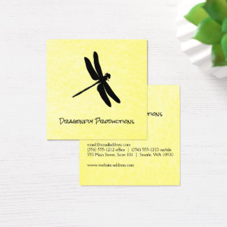 Dragonfly (black) yellow texture square business card