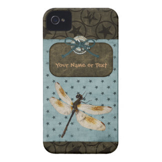Dragonfly Blue Brown Stars Grunge Personalize iPhone 4 Case-Mate Case