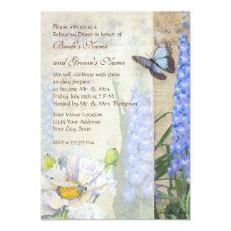 Dragonfly Butterfly Delphinium Rehearsal Dinner 13 Cm X 18 Cm Invitation Card
