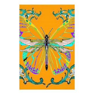 Dragonfly-Butterfly Fantasy Gold gifts by Sharles Stationery Paper