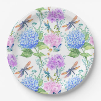 Dragonfly Butterfly Floral Paper Plate