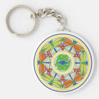 dragonfly circle basic round button key ring