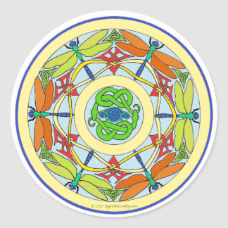 dragonfly circle round stickers