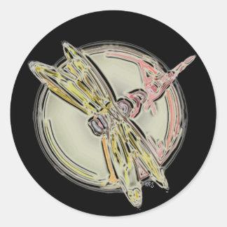 Dragonfly Cutout Round Sticker
