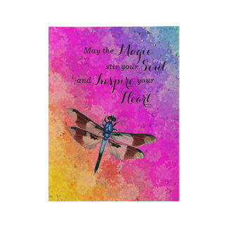 Dragonfly, Daisies in Rainbow Colors w/Magic Quote Wood Poster