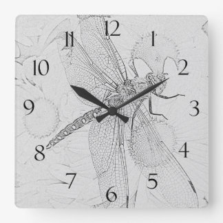 Dragonfly & Daisies Square Wall Clock