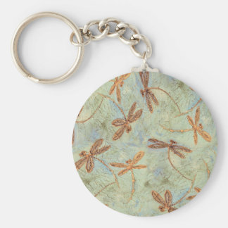 Dragonfly Dance Gold Basic Round Button Key Ring