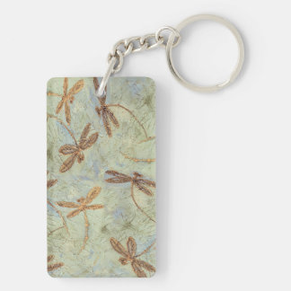 Dragonfly Dance Gold Double-Sided Rectangular Acrylic Key Ring