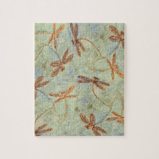 Dragonfly Dance Gold Jigsaw Puzzle