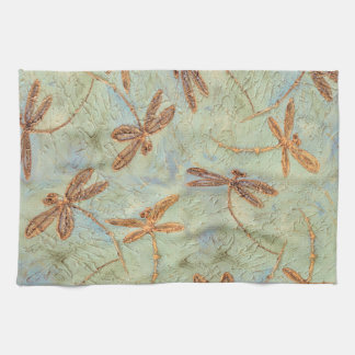 Dragonfly Dance Gold Tea Towel
