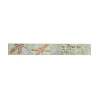 Dragonfly Dance Gold Wraparound Address Label