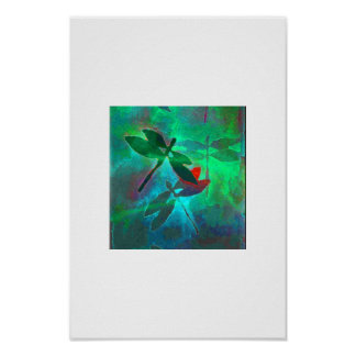 dragonfly dance in green poster