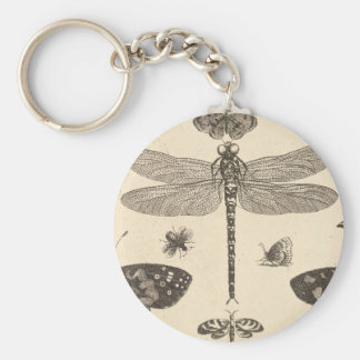 Dragonfly ( detail ) Vintage Art Basic Round Button Key Ring