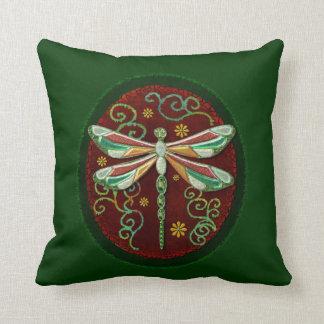 Dragonfly Elegant Jeweled 2 Folk Art Cushion